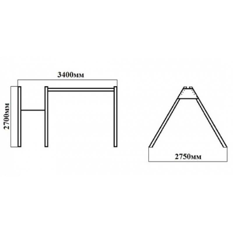 Уличные качели sv (рама 2,4м+ качель деревянная на цепях + комплект горка sv к уличным качелям)