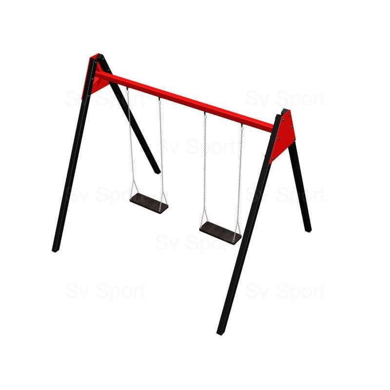 Уличные качели Sv Sport 2,4м (рама + качели деревянные на цепях одноместные 2шт)