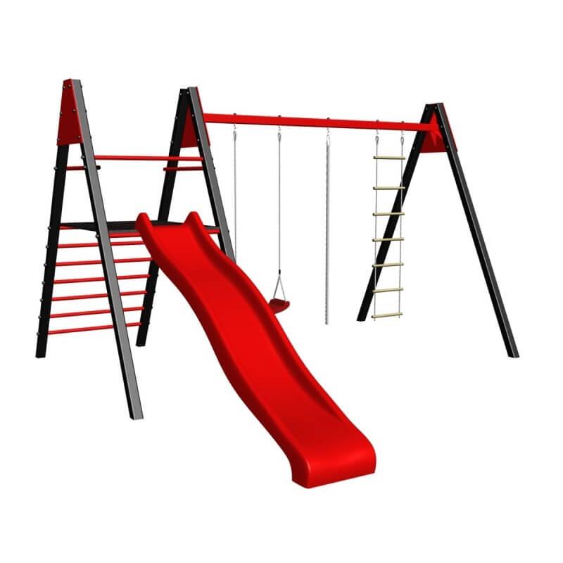 Уличные качели sv (рама 3,0м+ качели пластиковые+канат+веревочная лестница + комплект горка sv к уличным качелям)