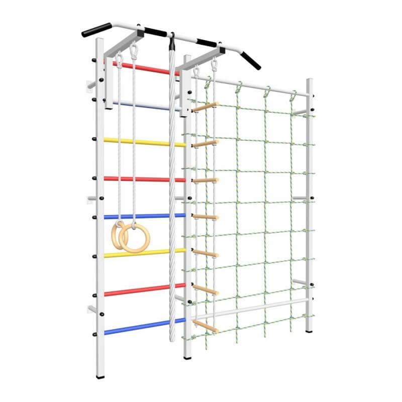 Шведская стенка с турником стандарт, детское навесное и канатный лаз (SV Sport ТстДК) код: 509