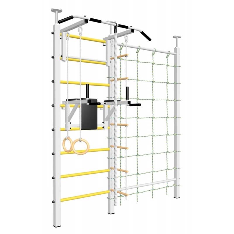 Шведская стенка враспор, без крепления к стене, с турником стандарт, брусьями, канатным лазом и детское навесное (SV Sport враспор ТстБДК) код: 710