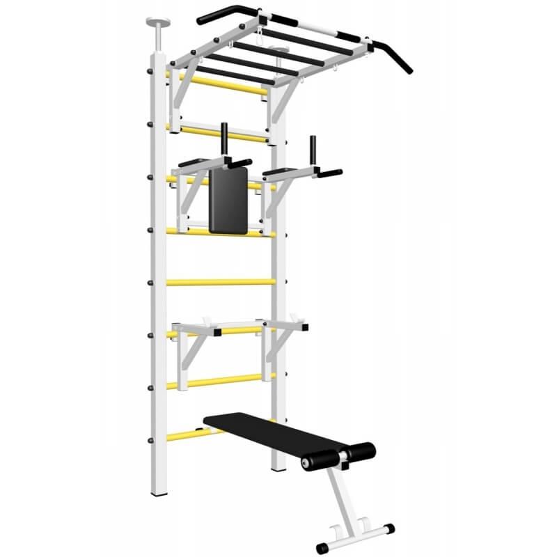 Шведская стенка враспор, без крепления к стене, с турником рукоходом, брусьями, скамьёй и стойкой под штангу (SV Sport враспор ТрукБСШ) код: 726