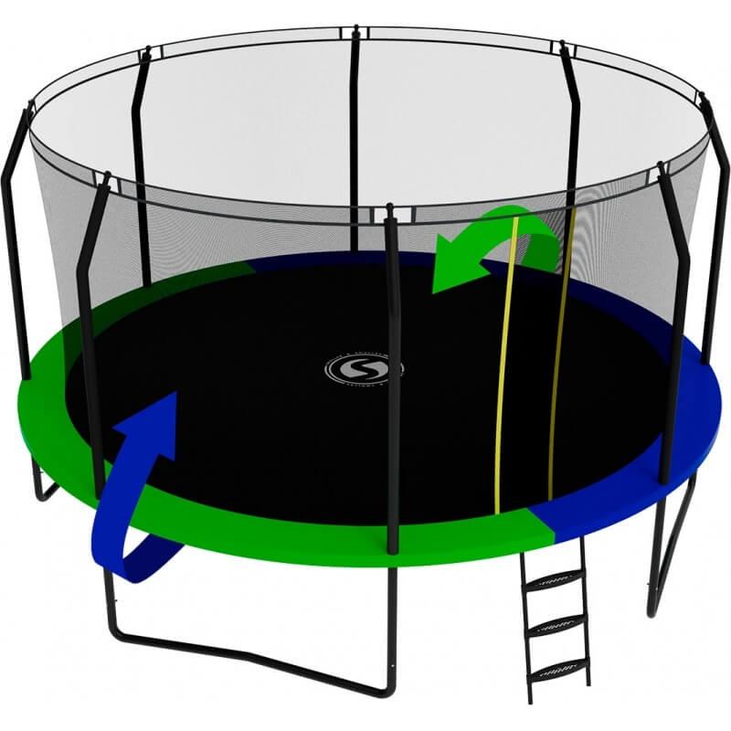 Батут с внутренней сеткой и лестницей, диаметр 14ft (зеленый / синий). Батут SWOLLEN Prime Black 14 FT