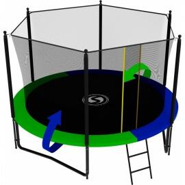 Батут усиленный с внутренней сеткой и лестницей, диаметр 10ft (зеленый / синий). Батут SWOLLEN Classic Black 10 FT