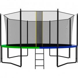 Батут усиленный с внутренней сеткой и лестницей, диаметр 14ft (зеленый / синий). Батут SWOLLEN Classic Black 14 FT