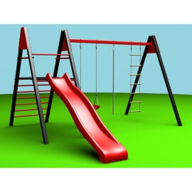 Уличные качели sv (рама 2,4м+ качели пластиковые+канат+веревочная лестница + комплект горка sv к уличным качелям)