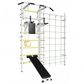 Шведская стенка усиленная с турником стандарт, брусьями, скамьёй, детское навесное и канатный лаз (SV Sport усиленная ТстБСДК) код: 611