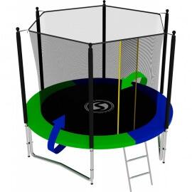 Батут усиленный с внутренней сеткой и лестницей, диаметр 8ft (зеленый / синий). Батут SWOLLEN Classic 8 FT