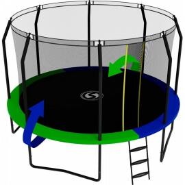 Батут с внутренней сеткой и лестницей, диаметр 12ft (зеленый / синий). Батут SWOLLEN Prime Black 12 FT