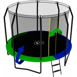 Батут с внутренней сеткой и лестницей, диаметр 10ft (зеленый / синий). Батут SWOLLEN Prime Black 10 FT