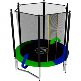 Батут усиленный с внутренней сеткой и лестницей, диаметр 6ft (зеленый / синий). Батут SWOLLEN Classic 6 FT