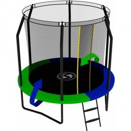 Батут с внутренней сеткой и лестницей, диаметр 8ft (зеленый / синий). Батут SWOLLEN Prime Black 8 FT