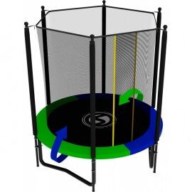 Батут усиленный с внутренней сеткой и лестницей, диаметр 6ft (зеленый / синий). Батут SWOLLEN Classic Black 6 FT
