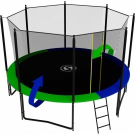 Батут усиленный с внутренней сеткой и лестницей, диаметр 12ft (зеленый / синий). Батут SWOLLEN Classic Black 12 FT