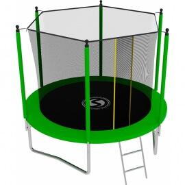 Батут с внутренней сеткой и лестницей, диаметр 8ft (зеленый).Батут SWOLLEN Lite 8 FT (Green)