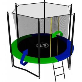 Батут усиленный с внутренней сеткой и лестницей, диаметр 8ft (зеленый / синий). Батут SWOLLEN Classic Black 8 FT