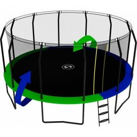 Батут с внутренней сеткой и лестницей, диаметр 16ft (зеленый / синий). Батут SWOLLEN Prime Black 16 FT